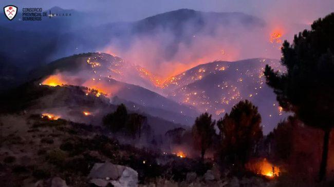 Autorizado el regreso de los vecinos de La Monarda y La Sillada desalojados por el incendio forestal en Jubrique